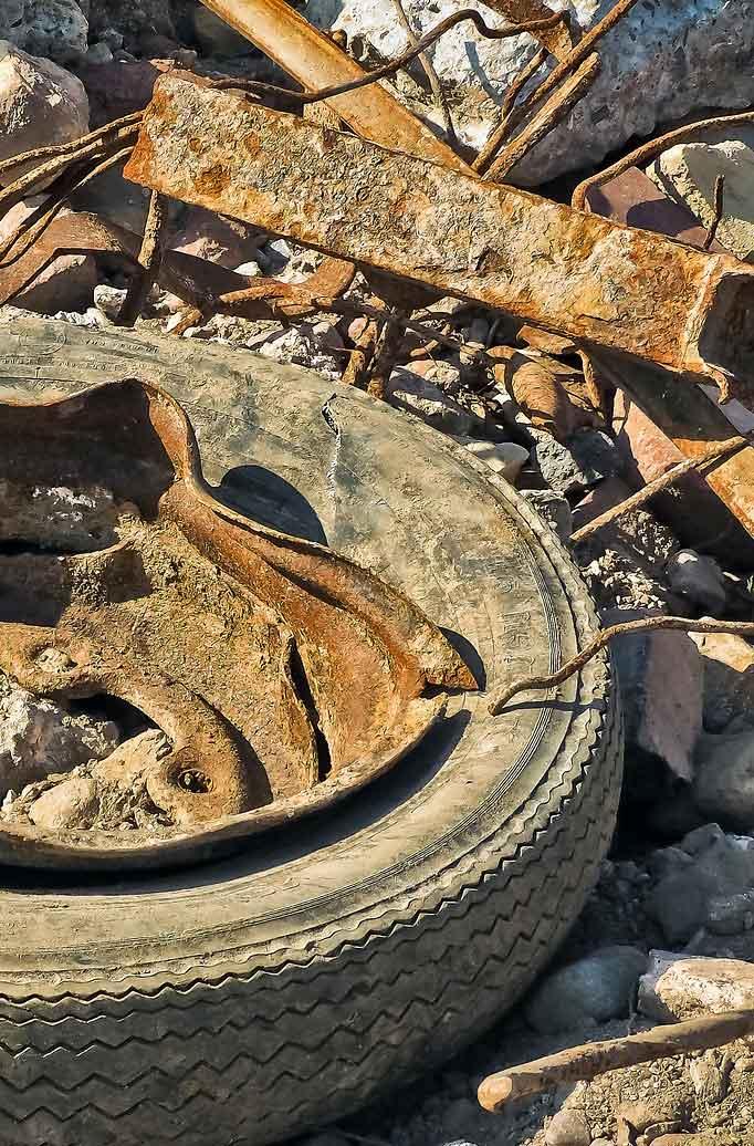 Burying tires